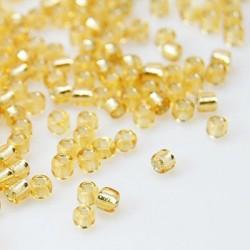 Glasperlen Rocailles gold
