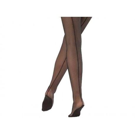 Netzstrumpfhosen mit Naht und Fußbett
