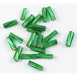 Glasstiftperlen Twist emerald