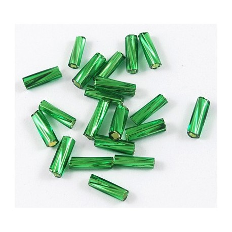 Glasstiftperlen Twist emerald