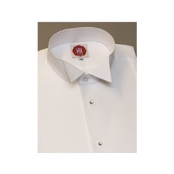 Frackhemd, Piquébrust, Kläppchenkragen, Druckknöpfe Perlmutt/Silber